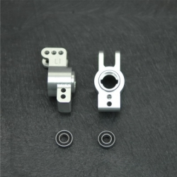 CNC Machined 1 deg. Rear Hub Carriers w/5x11mm outer bearings for EXO Buggy (Silver)